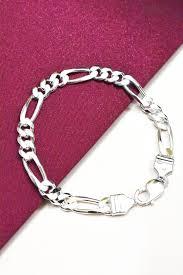silver bracelet designs images Figaro design 925 sterling silver bracelet for men 39 s shubhki jpg