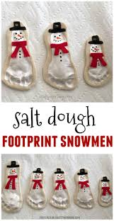 salt dough footprint snowman keepsakes salt dough footprints