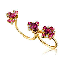 double rings jewelry images Convertible single double diamond and rhodolite garnet ring jpg