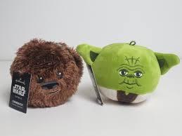 disney wars yoda chewbacca fluffballs hallmark plush