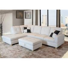 White Leather Sofa Sectional White Sectional Sofas You Ll Wayfair