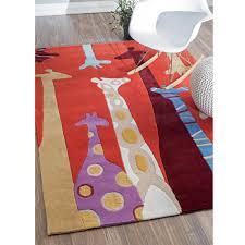 Red Kids Rug Kinderloom Giraffe Hand Tufted Red Hjuzb33a 36056 By Nuloom