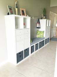 ikea hack kallax bench and storage diy tutorial foyer storage