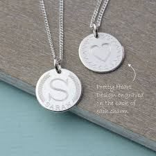 initials necklace silver coin style sterling silver initial necklace by louise