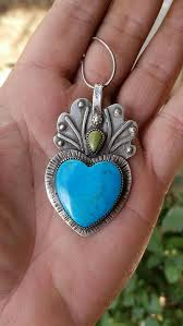 sacred heart jewelry sacred heart pendant heart pendant turquoise heart necklace