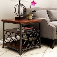 iron and wood side table gracewood hollow scrolled metal and wood end table free shipping