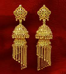 gold jhumka earrings ethnic indian traditional gold plated jhumka earrings set women