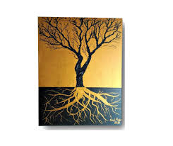 textured tree painting acrylic 3d painting black gold