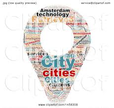 Map Pin Clipart Of A Smart City Map Pin Word Cloud On A White Background