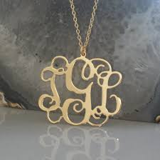 gold plated monogram necklace 18k gold plated monogram necklace 1 25 inch personalized monogram