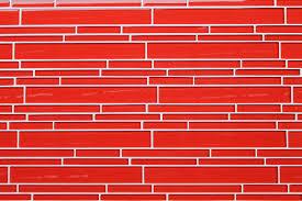 red subway tile backsplash amys office