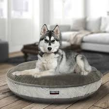 costco pet beds kirkland signature 42 round pet bed grey cream wave suede for