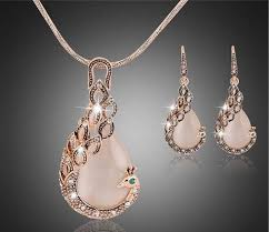 rose gold necklace earrings images Online shop 2016 new jewelry sets fashion kc rose gold filled opal jpg