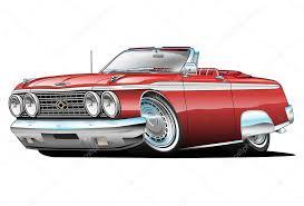 cartoon convertible car classic american red convertible muscle car cartoon stock vector