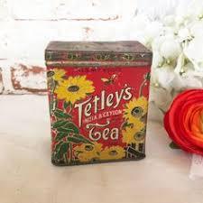 Rare Antique Tetley Tea Tin Litho Box Sample Size Elephant