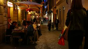 rome italy april 18 2015 people have dinner in a small