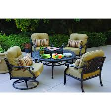Patio Furniture Sets With Fire Pit by Darlee Nassau 5 Piece Cast Aluminum Patio Fire Pit Conversation