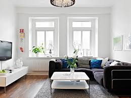 scandinavian narrow living room ideas with l shaped black sofa and
