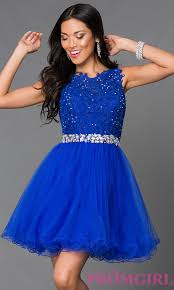 blue dress tulle lace top prom dress