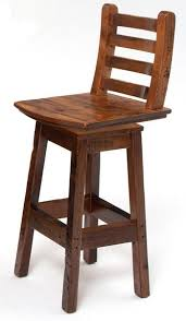 Wooden Swivel Bar Stool Reclaimed Barnwood Stool With Swivel Woodland Creek Furniture