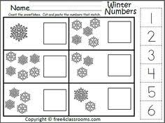 winter number matching worksheet for the numbers 5 to 10 cut and