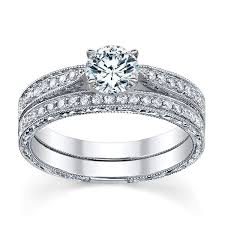 set rings round images Divine vintage diamond wedding ring set 1 carat round cut diamond jpg