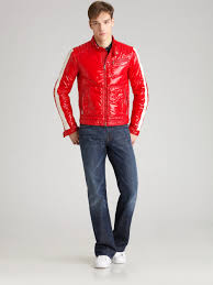 red motorcycle jacket moncler motorcycle jacket in red for men lyst