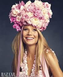 flower headpiece gwyneth paltrow poses in headpiece created by florist