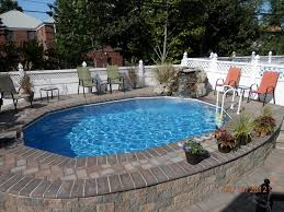 Backyard Landscaping With Pool by Semi Inground Pools With Decks High Rise Semi Inground Pool