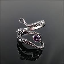 Amethyst Wedding Rings by Cleo Sale Wicked Tentacle Ring With Amethyst Wedding Band