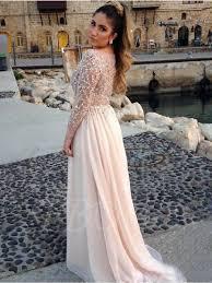 bateau neck a line beading long sleeve evening dress tbdress com