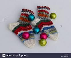 handmade woollen socks for children christmas present stock photo