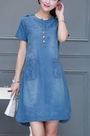 denim blue round neckline button pockets design casual dress cute