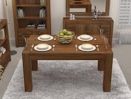 linea solid walnut home dining room furniture four seater dining