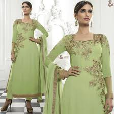 amazing green simple dress design pakistani style with empire neck