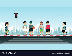 waiting for the light children waiting for the traffic light royalty free vector