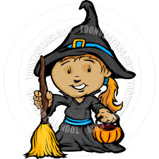 cute happy halloween images cute halloween in witch costume cartoon vector illustration