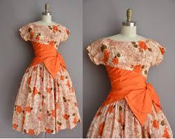 50s orange rose bombshell full skirt vintage dress vintage 1950s