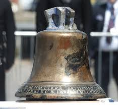 bell of hms hood sunk 75 years ago retrieved from seabed is