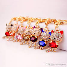 crystal key rings images Lucky smile cat crystal rhinestone keyrings key chains holder jpg