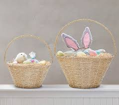 eater baskets gold rope collapsible handle easter baskets pottery barn kids