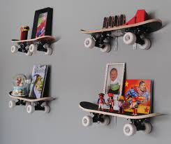 Boys Wall Decor Kids Room Modern Kids Furniture Bookshelf With Books Skateboard