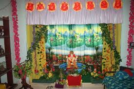 ganapati decoration in living room home combo