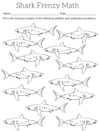 printable shark frenzy math worksheet sharks addition and