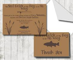 Fishing Themed Baby Shower - rustic fishing theme baby shower invitation and thank you note set