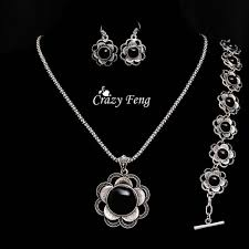 earrings bracelet sets images Silver women jewelry sets pendant necklace earrings bracelet jpg
