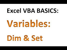 excel vba basics 9 declaring variables with dim and using set