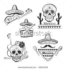 hand drawn mexico icons set guitar stock vector 318221480