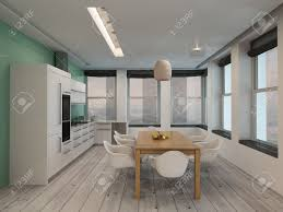 open plan modern kitchen and dining room interior with built