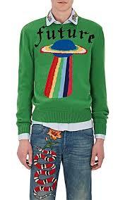 green sweater gucci future ufo intarsia wool sweater barneys york
